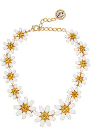 Gold-plated, Swarovski crystal and glass necklace