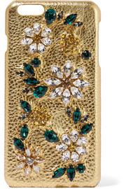Dolce & Gabbana Swarovski crystal-embellished metallic textured-leather iPhone 6 Plus case