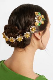 Dolce & Gabbana Gold-tone, Swarovski crystal and enamel headband
