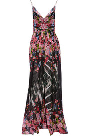 Cape-back printed silk-georgette gown