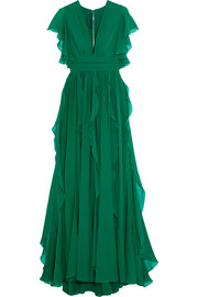 Ruffled silk-blend georgette gown