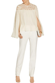 Lace-paneled silk-blend georgette blouse