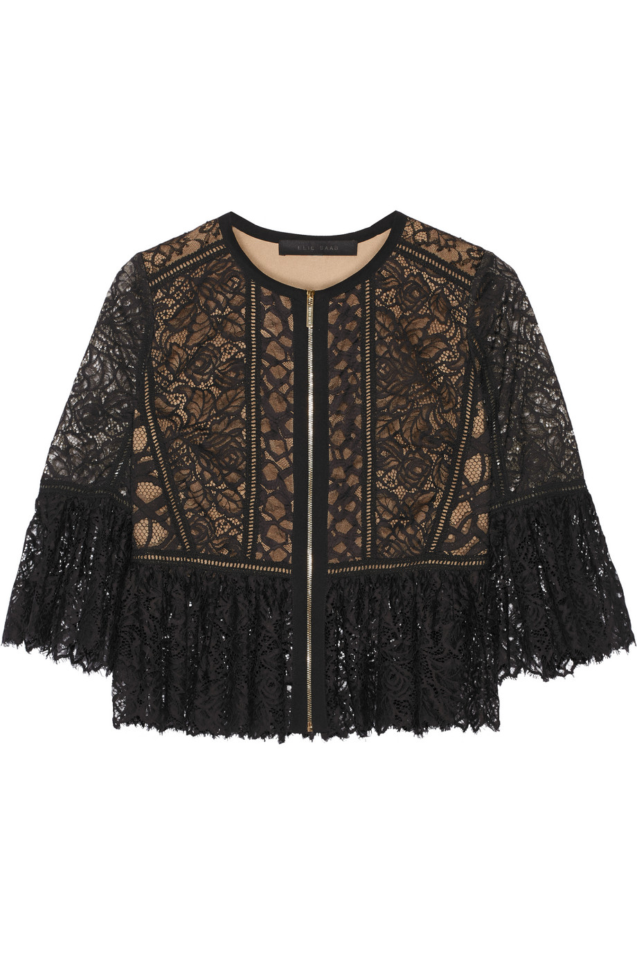 Elie Saab Cotton-Blend Lace Jacket, Black, Women's, Size: 40