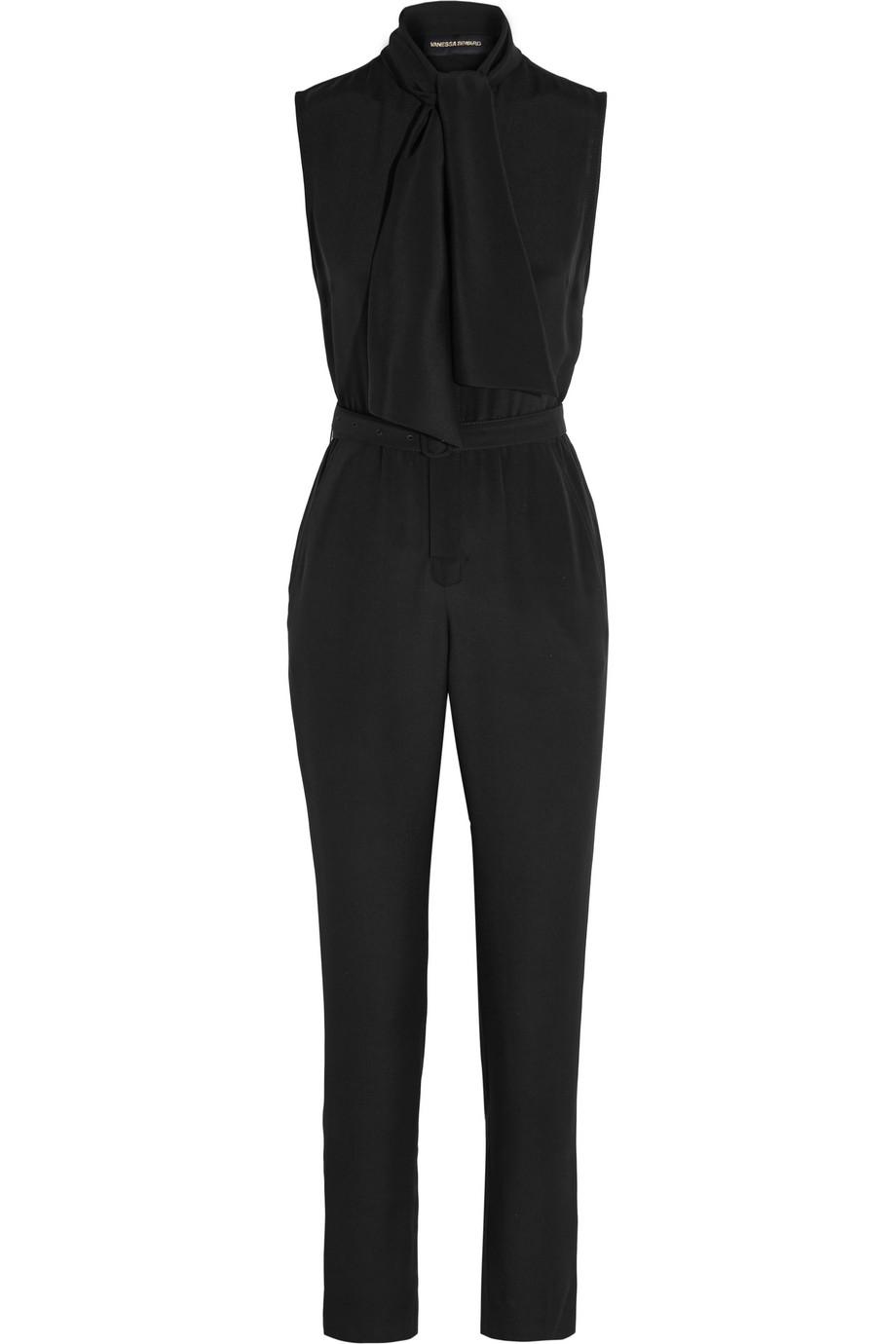 Boulogne Pussy-Bow Silk Crepe De Chine Jumpsuit, Black, Women's, Size: 34