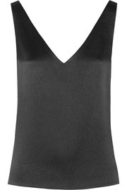 Open-back textured-silk top