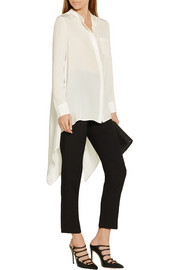 Asymmetric silk crepe de chine blouse