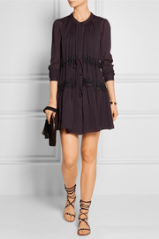 Maiyet Lace-paneled silk-chiffon mini dress