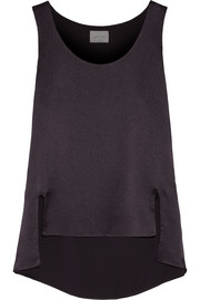 Asymmetric textured-silk top