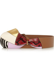 Marni Paneled leather, calf hair and python bow belt