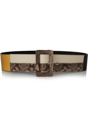 Paneled leather and python waist belt
