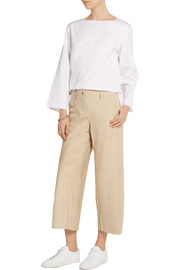 Tennen cropped suede wide-leg pants