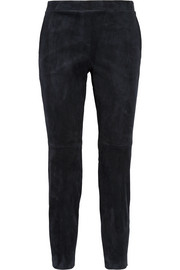 Cropped stretch-suede leggings