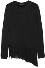 Asymmetric fringed stretch wool-blend sweater