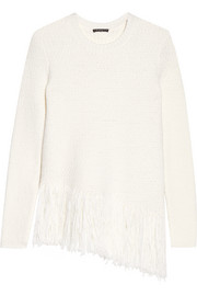 Hudina fringed stretch merino wool-blend sweater