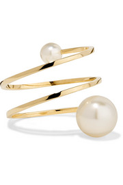 Louise Grand 14-karat gold pearl ring