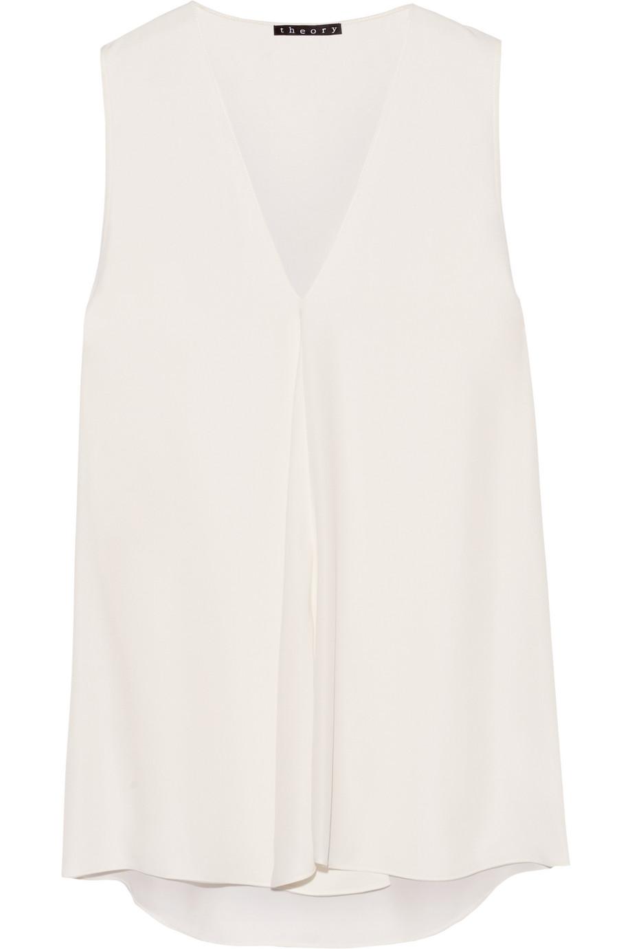 Theory Silk Blouse, Off-White, Women's