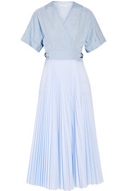 Pleated poplin and cotton wrap dress