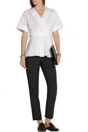 Cotton-poplin wrap top