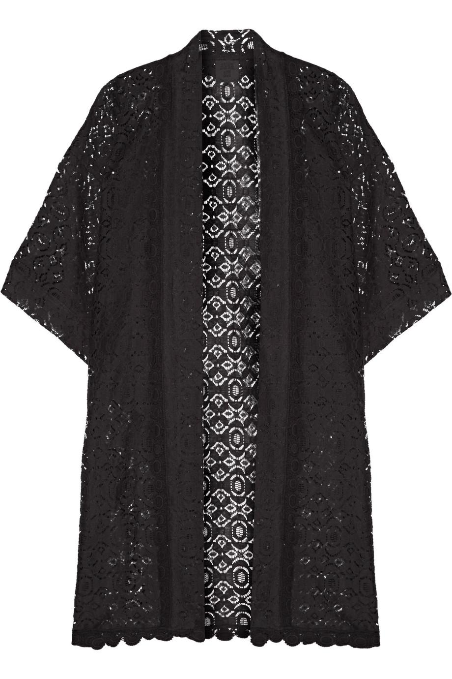 Anna Sui Lace Kimono Jacket, Black, Women's, Size: M/L