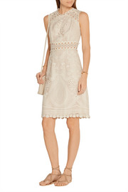 Anna Sui Crochet-trimmed embroidered tulle mini dress