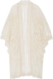 Crochet-trimmed embroidered tulle kimono jacket