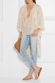 Anna Sui Crochet-trimmed embroidered tulle kimono jacket