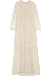 Crochet-paneled embroidered tulle maxi dress