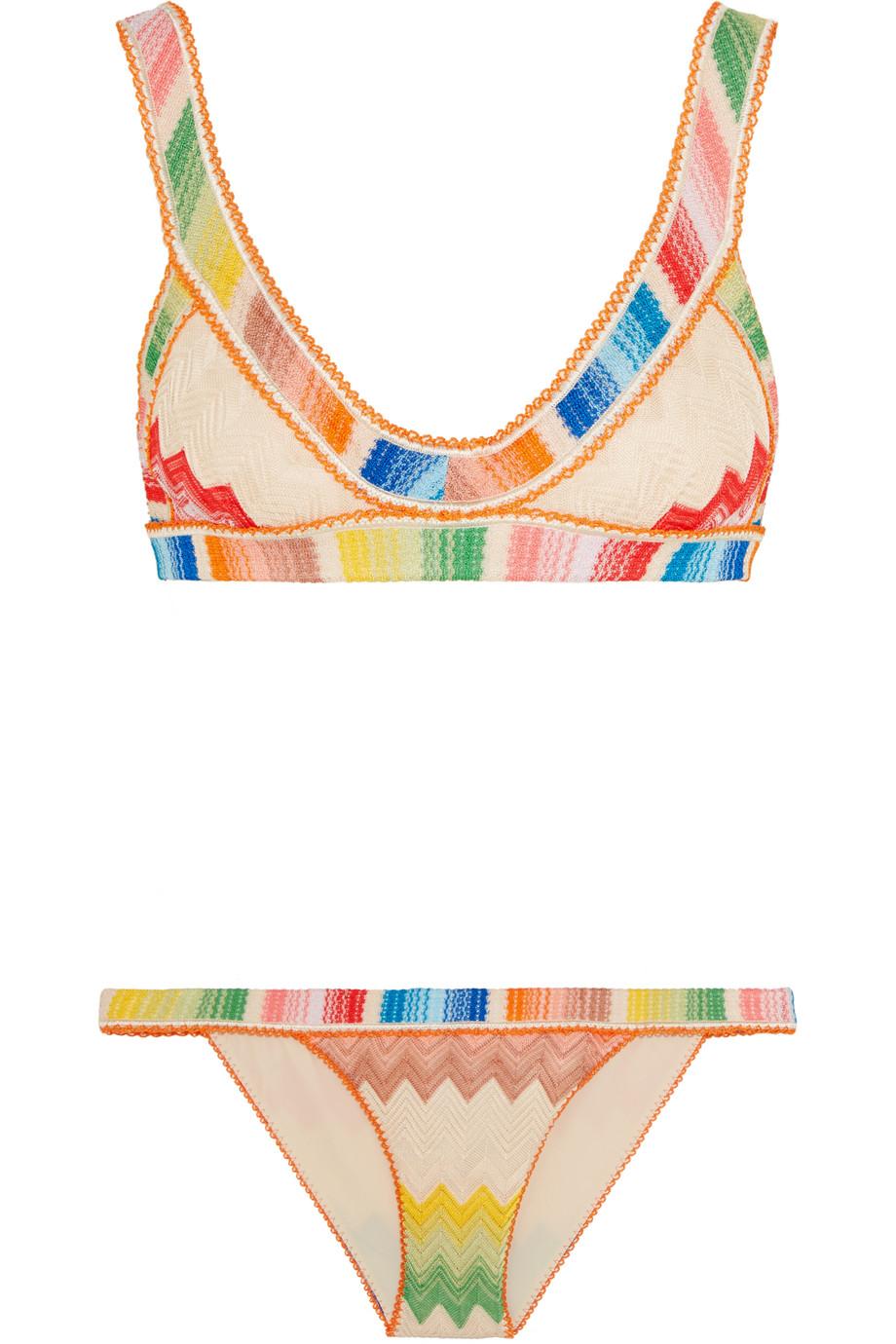 Missoni Mare Crochet-Knit Triangle Bikini, Pink/Orange, Women's, Size: 42