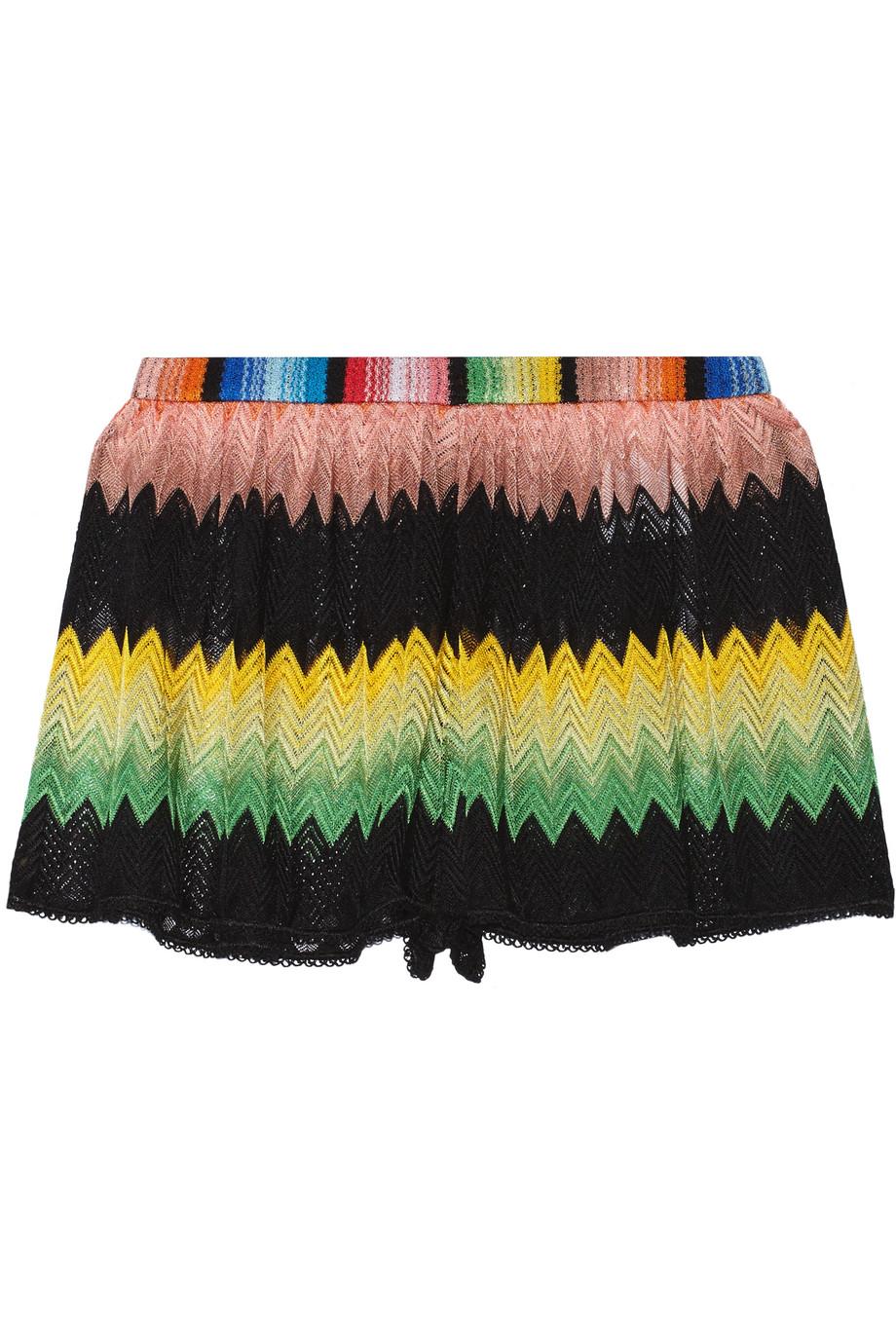 Missoni Mare Crochet-Knit Shorts, Black/Yellow, Women's, Size: 44