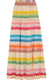 Crochet-knit wrap maxi skirt