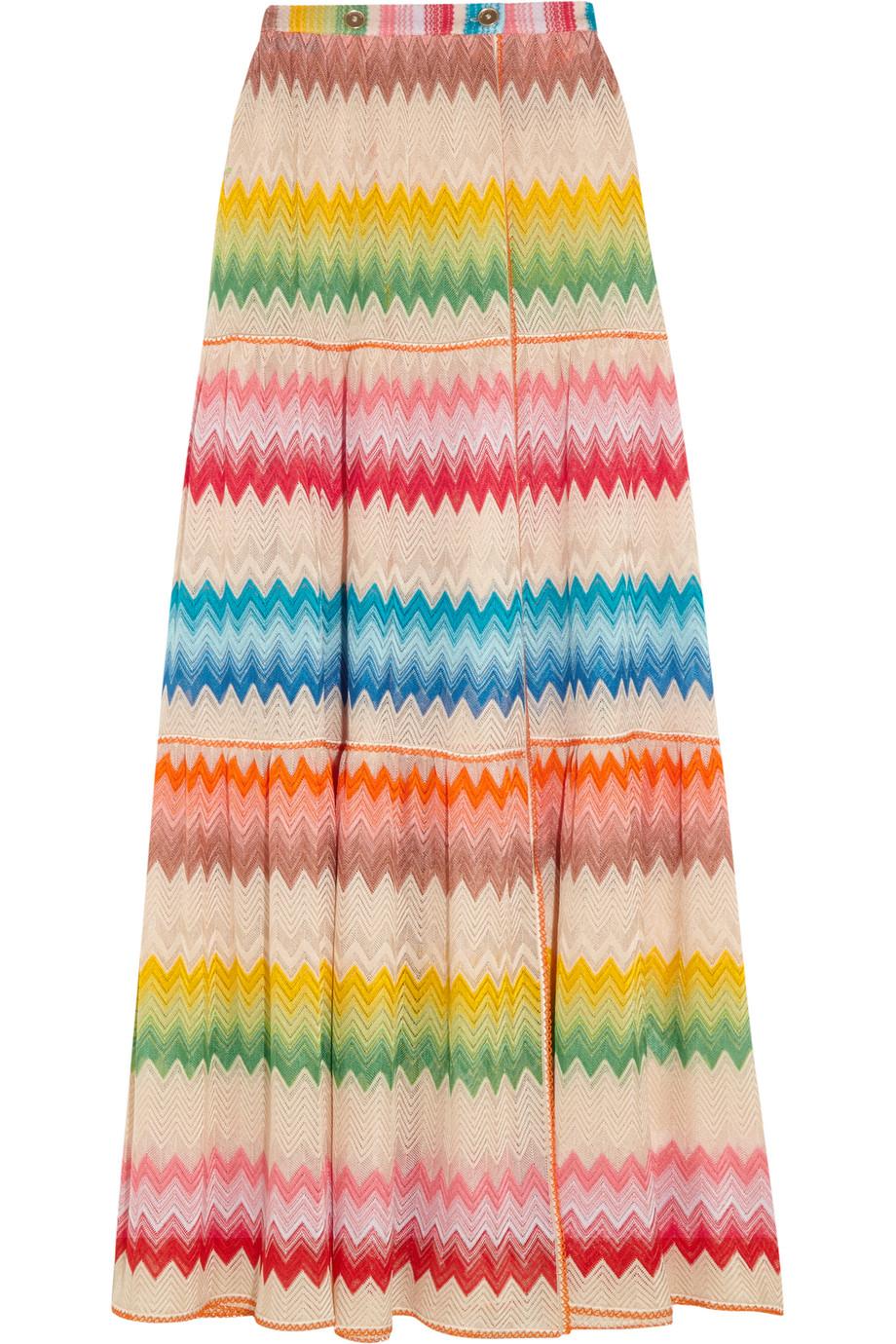 Missoni Mare Crochet-Knit Wrap Maxi Skirt, Pink/Orange, Women's, Size: 42