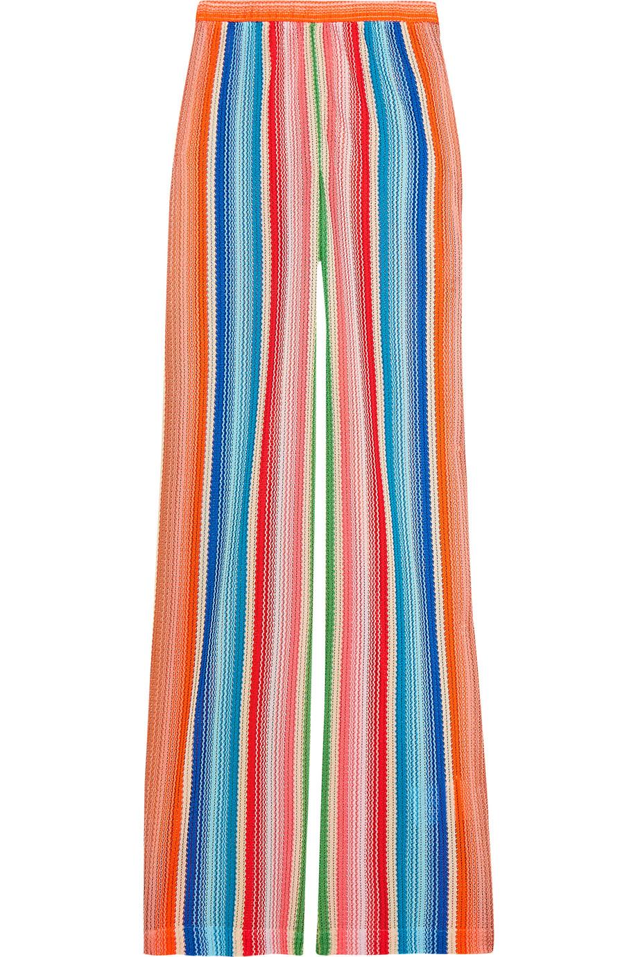 Missoni Mare Striped Crochet-Knit Pants, Pink/Blue, Women's, Size: 38