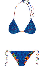 Reversible crochet-knit triangle bikini