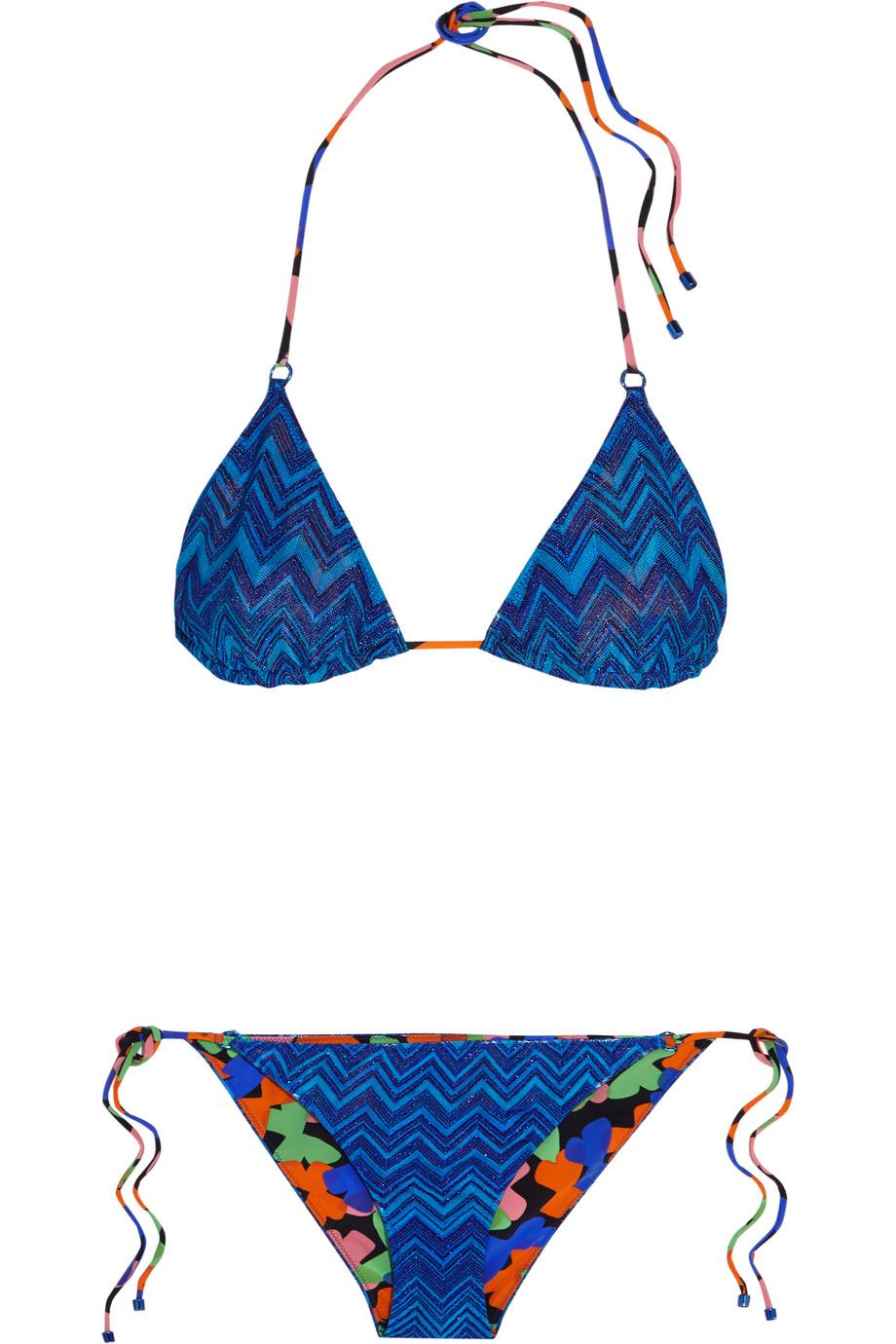 Missoni Mare Reversible Crochet-Knit Triangle Bikini, Cobalt Blue, Women's, Size: 44