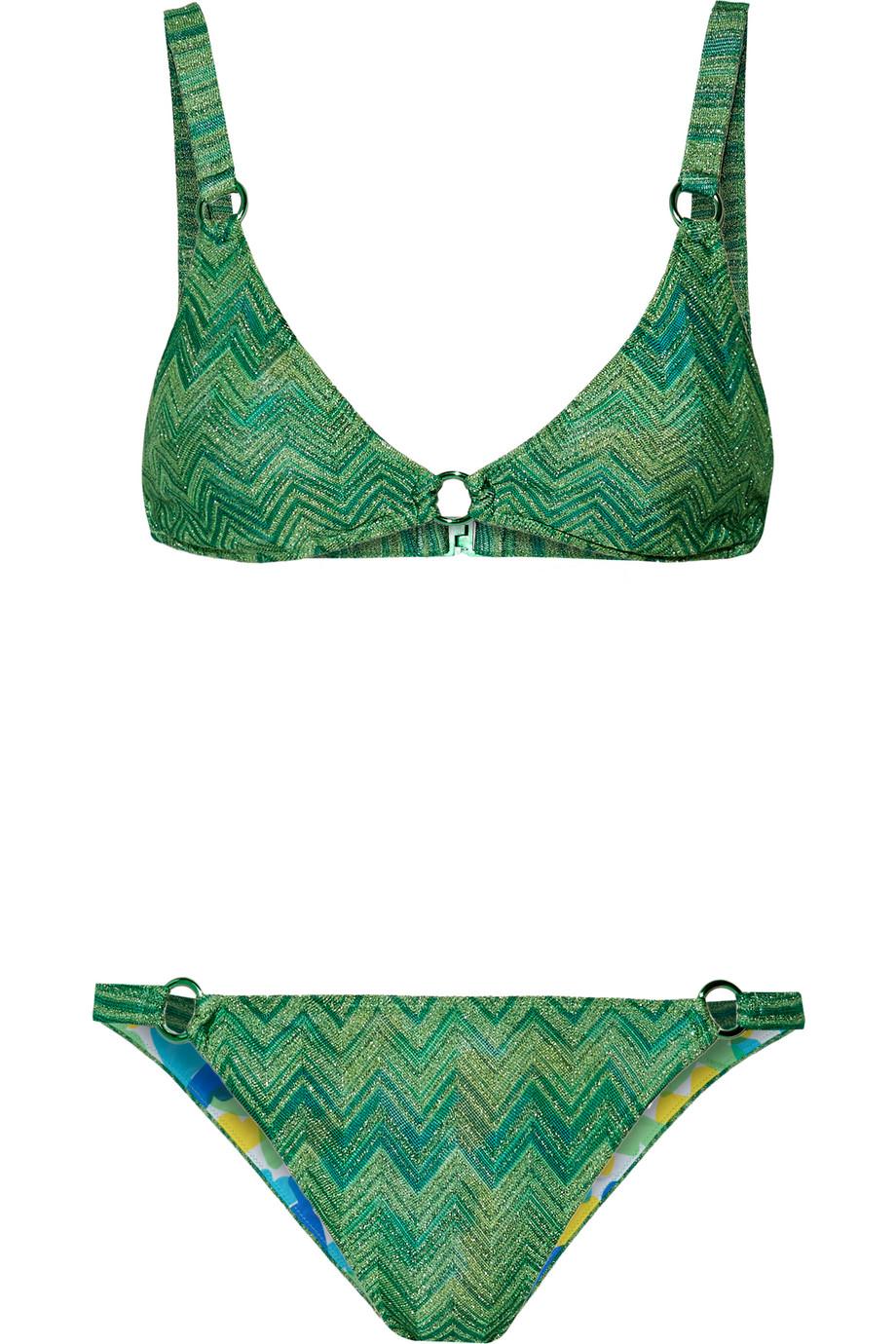 Missoni Mare Reversible Crochet-Knit Triangle Bikini, Bright Green, Women's, Size: 48