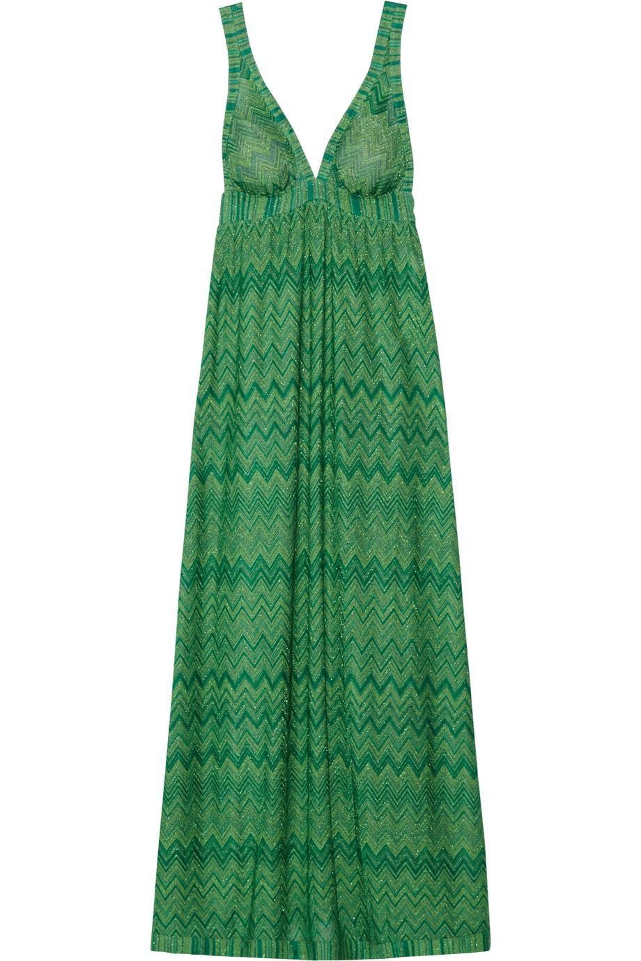 Missoni Mare Crochet-Knit Maxi Dress, Bright Green, Women's - Metallic, Size: 40