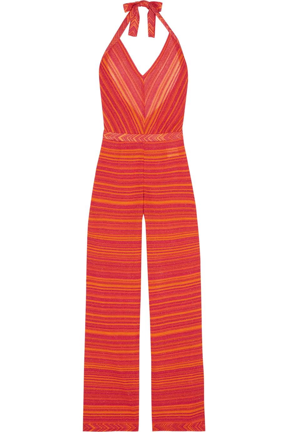 Missoni Mare Metallic Crochet-Knit Jumpsuit, Red/Orange, Women's, Size: 44