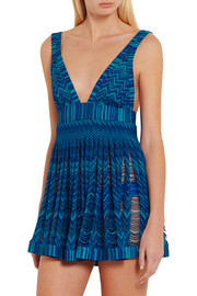 Missoni Pleated metallic crochet-knit mini dress