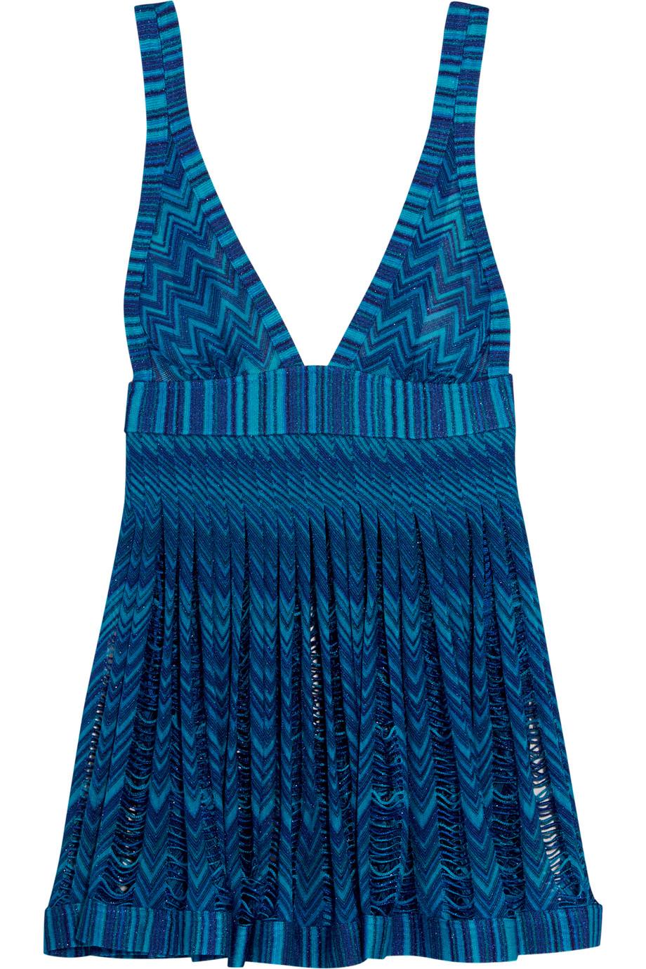 Missoni Mare Pleated Metallic Crochet-Knit Mini Dress, Teal, Women's - Metallic, Size: 48