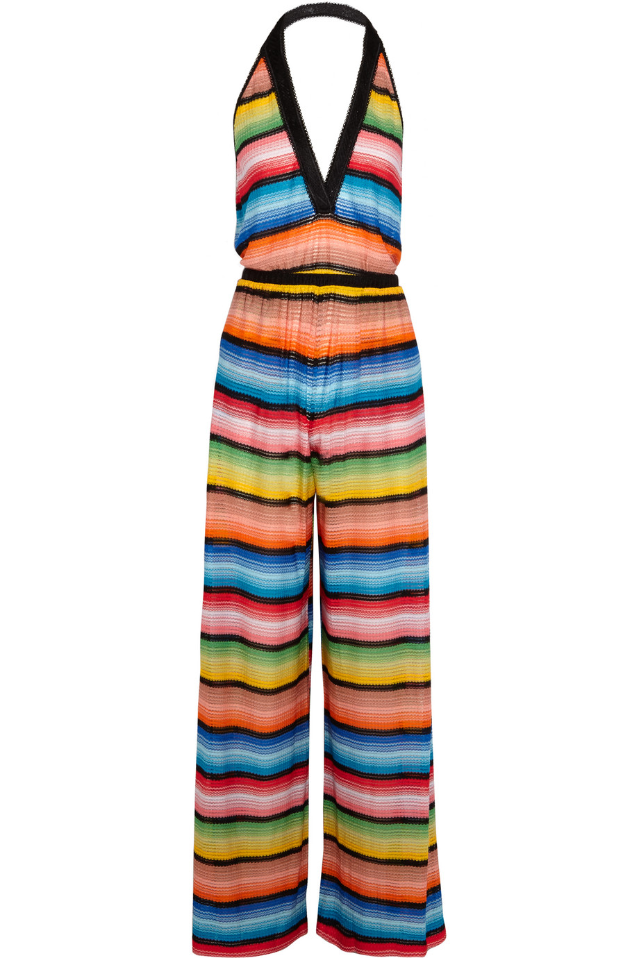 Missoni Crochet-Knit Halterneck Jumpsuit, Blue/Orange, Women's, Size: 44