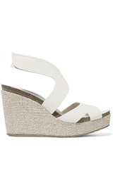 Marcia textured-leather wedge sandals