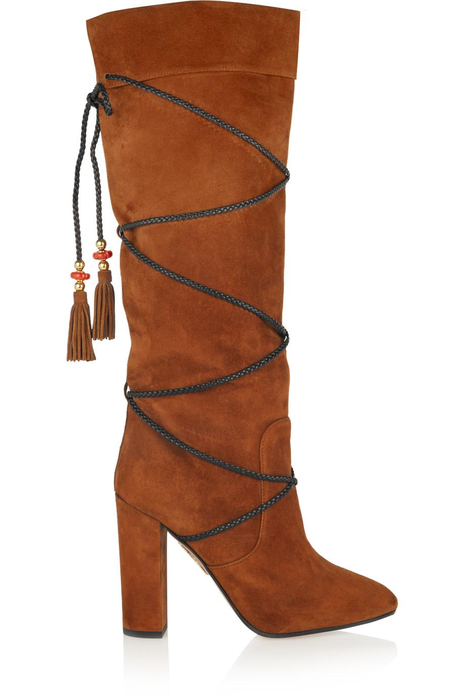 Aquazzura + Poppy Delevingne Moonshine Suede Knee Boots, Tan, Women's US Size: 8.5, Size: 39