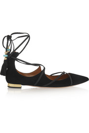 + Poppy Delevingne Hero Ballerina suede point-toe flats