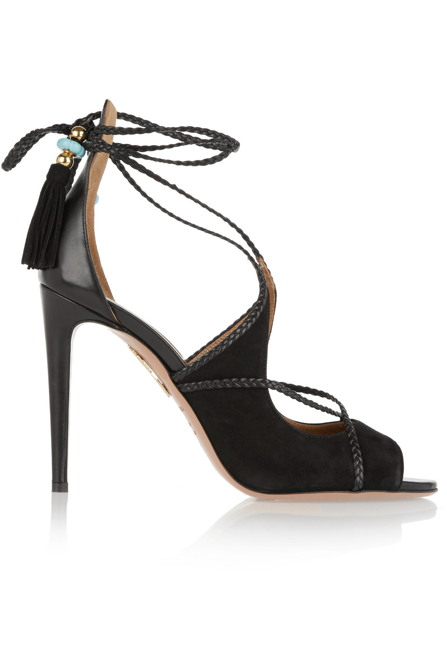 Aquazzura + Poppy Delevingne Hero Lace-Up Suede and Leather Sandals, Black, Women's US Size: 6.5, Size: 37