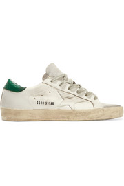 Super Star distressed metallic suede-paneled leather sneakers