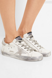 Super Star metallic distressed suede-paneled leather sneakers