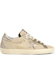 Super Star metallic leather-paneled suede sneakers