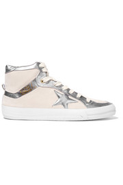 Metallic leather-paneled nubuck high-top sneakers