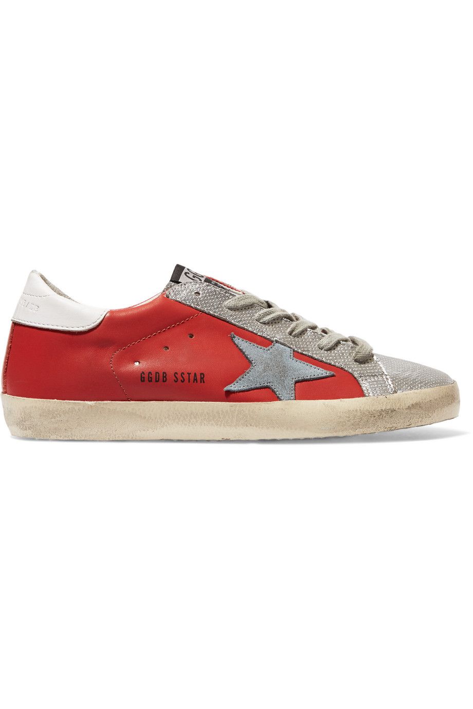 Super Star Metallic Distressed Leather Sneakers, Red/Silver, Women's US Size: 9.5, Size: 40