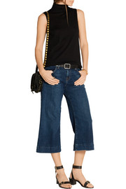Liza mid-rise stretch-denim culottes